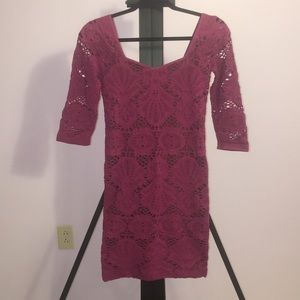 Lace 3/4 sleeve sweetheart dress